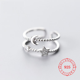 $enCountryForm.capitalKeyWord Australia - US Size 5.5 ~ 6.5 high quality 925 sterling silver unique design open adjust size cz moon star ring for christmas