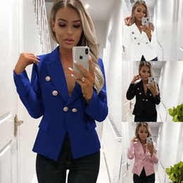 e7f68486aa0c 2019 New Arrival Women Solid Color Suit Jackets Fashion Button Fly Suits  Jackets Womens Casual Jacket Streetwear Suits Size S-2XL