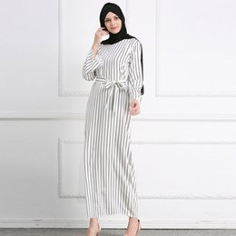 $enCountryForm.capitalKeyWord Australia - Muslim Women Spring Autumn Long Sleeve O Neck Striped Print Fashionable Islamic Abaya Dubai Turkey Prayer Long Maxi Dress