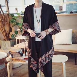 Long goLd downs online shopping - Patchwork Floral Chinese Kimono Shirt Men Long Kimono Cardigan Men Shirt Japanese Kimono Men Blouse Summer
