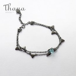 Plastic Thorns Australia - Thaya 100% 925 Silver Thorns Rose Bracelet Two Layer Crystal Flower Black Chain Link Bracelet For Women Jewelry Korea Style Gift J190612