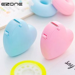$enCountryForm.capitalKeyWord NZ - EZONE Candy Color Masking Tape Cutter Design Of Love Heart Donut Shape Sticker Tape Cutter Office Dispenser School Supply