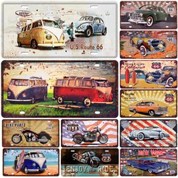 Tin car plaques online shopping - Bus Motorcycle Car Metal License Plate Vintage Home Decor Tin Sign Bar Pub Garage Decorative Metal Sign Metal Painting Plaque