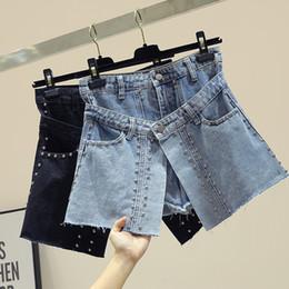 $enCountryForm.capitalKeyWord Australia - Irregular Edge Jeans Shorts Female 2019 New Summer Double Waist Rivet Wide-legged Shorts Student Girls Denim Skirts