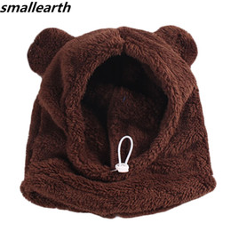 $enCountryForm.capitalKeyWord NZ - Autumn Winter Plush Baby Hats with Hooded Scarf Kids Cute Bear Ears Warm Thick Plush Beanies Baby Hats Caps for Boys Girls