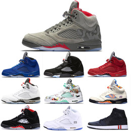 space balls NZ - Camo Grey 5s mens basket balls shoes OG Black Metallic Silver red suede space jam Grapes white Cement International fight designer sneakers