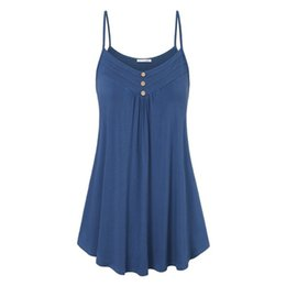 Wholesale Hot Sale Simple Fashion Summer Women Sexy Tops Solid Color Sleeveless Strap Blouse Ruffle Ladies Girls Loose Casual Vest S XL C