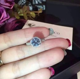 Big diamond rings for women online shopping - Hot Sterling Silver Jewelry Solid Silver Ring Set Sona CZ Big Diamond Engagement Wedding Rings for Women with brand box
