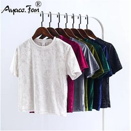 velvet tee shirt 2019 - Summer Velvet Crop Tops Women T-Shirt New Fashion Back Slit Short Sleeve T-shirt Ladies Casual Velour Tops Tees Female C