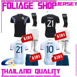 Wholesale 2019 Argentina kids kits Soccer Jersey Copa America Home Messi Dybala AGUERO HIGUAIN dybala ICARDI MARADONA child SET Football SHIRTs