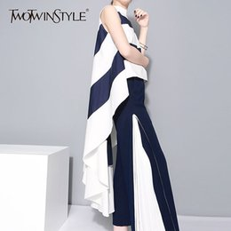 $enCountryForm.capitalKeyWord NZ - TWOTWINSTYLE Striped Chiffon Shirt For Women Sleeveless Stand Collar Draped High Waist Asymmetrical Long Blouse Summer Harajuku T190611