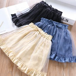 efceffc3a Child Girl Up Skirt UK - Summer kids skirt shorts girls splicing gold  silver lace tulle