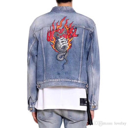 Long Ladies Denim Jacket Australia - Denim jacket ladies men washed denim jacket flame snake print shirt fashion men and women autumn and winter coat