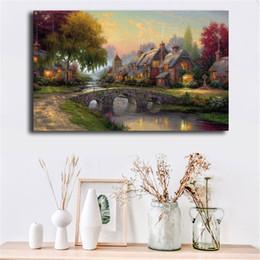 $enCountryForm.capitalKeyWord Australia - Cobblestone Bridge By Thomas Kinkade Poster Canvas Painting Oil Framed Wall Art Print Pictures For Bedroom Modern Home Decoracion Framework