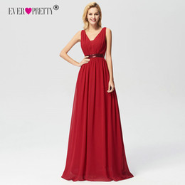 3517791456 Ever Pretty Elegant Burgundy A-line Sequined Prom Dresses 2018 Women s Long  Sleeveless V-neck Chiffon Cheap Occasion Gowns