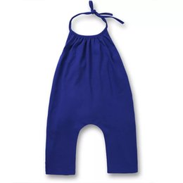 2c1b1f3ba88f Little Girls Cotton Onesies Rompers Kids Jumpsuits Cotton Gray Blue  Backless Belt Rompers Jumpsuits One Piece Grey Suspender Overalls 1-5T