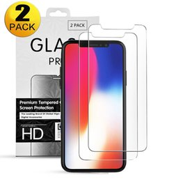 packing boxes tempered glass UK - 2 Pack 2.5D 9H tempered glass for iphone 11 Pro X XS XR XS Max 2pcs screen protector with Retail box