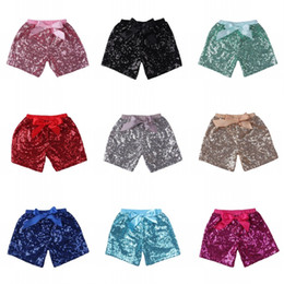 Girl's Bows Australia - Baby Girls Sequins Shorts Pants Casual Pants Fashion Infant Glitter Bling Dance Boutique Bow Princess Shorts Kids Clothes