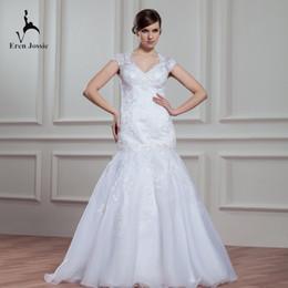 $enCountryForm.capitalKeyWord Australia - Eren Jossie Classical Design Dropped Waistline Cap Sleeve Appliqued Mermaid Wedding Gowns Wholesale Price Women Dress