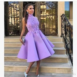 $enCountryForm.capitalKeyWord Australia - Chic High Neck light Purple Short prom Dresses Lace Party Dress Appliqued Knee Length Satin Cheap Country Short Cocktail Gowns