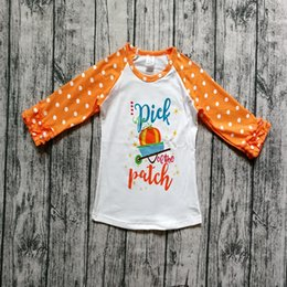 China Halloween Kids T-shirts Polka Dot Ruffle Tops Childrens Print Pumpkin Cotton Tees Baby Long Sleeve Shirts GGA2641 supplier wholesale childrens t shirts suppliers