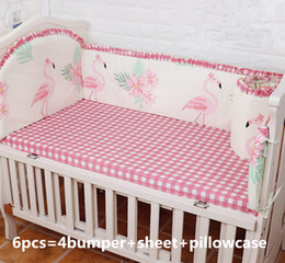 baby pillow bedding sets Canada - Promotion! 6PCS Flamingo bedding balloon Baby Cradle Crib Netting Bedding Set for Newborn ,include (bumpers+sheet+pillow cover)