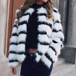 $enCountryForm.capitalKeyWord Australia - Autumn Winter Black White Stripe Short Faux Fur Coat Warm Fur Jacket For Women Lapel Long Sleeve Collarless Coat Casual Overcoat