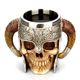spoon mugs UK - Coffee Mug Resin Striking Warrior Tankard Viking Skull Double Wall Christmas Cup Creative Thermos 2019 New Products Selling Well C19041302