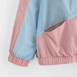 $enCountryForm.capitalKeyWord Australia - Long Women Sleeve Zipper Pockets Casual Sport Coat Multi Color Cut And Sew Windbreaker With Hood Color Block Coats Se0805