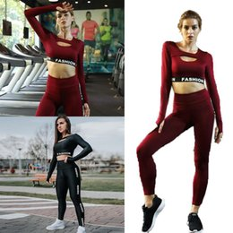 Women Fashion Sport Set NZ - Women Fashion Fitness Clothes Set Letter Print Long Sleeve Short Sports, Casual All Seasons Top Pants Set
