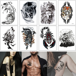 scorpion stickers Canada - Fake Black Animal Temporary Tattoo Sticker Fashion Lion Tiger Wolf Scorpion Fox Design Summer Beach Gift Tattoo Body Art for Woman Man Party