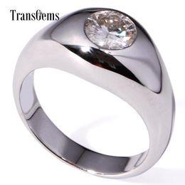 $enCountryForm.capitalKeyWord NZ - Transgems 1 Carat Lab Grown Moissanite Diamond Solitaire Wedding Band Solid 14k White Gold Engagement Anniversary Ring For Men Y19061203