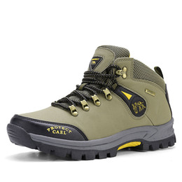 camp shoes for men Australia - Outdoor Hiking Shoes for Men Anti Slip Sole Mountain Camping Boots Male Strong Grip Sole All Terrain Trekking Shoes Man's Boots