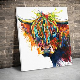kids framed prints NZ - 1 Panel Framed Creative Colored Cow Canvas Paintings Wall Art Canvas Animals Prints Pictures Kids Room Home Decor Poster Painting