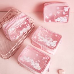 cosmetic purse pvc NZ - Cute Cherry Blossoms Sequins Makeup Bags Cosmetic Case Girl Pink Transparent Pvc Travel Organizer Pouch Clear Make Up Bag Female