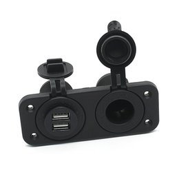 12 volt socket adapter NZ - Black 2.1A Dual USB Charger and Socket Panel Mount Marine 12 Volt Power Outlet Aluminum alloy Car adapter C811060