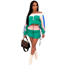 $enCountryForm.capitalKeyWord NZ - Patchwork Women Sun-protective Tracksuit Summer Outfits Long Sleeve Shoulder Out Crop Top Jacket Short Dress Sportswear Street Suit HotA3252