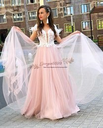 cheap white tulle dresses Australia - 2019 pink evening Dresses for sweet Girl amazing white Feather lace appliques tulle floor length Formal prom Dresses cheap Party Prom Wear