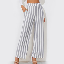 wide leg striped trousers 2019 - Casual High Waist Women Wide Leg Pants Striped Pockets Palazzo Pants Loose Office Womens Trousers 2018 discount wide leg