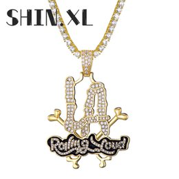 la chains NZ - Hip Hop Festival Necklace Iced Out Diamond Letter Rolling Loud LA Pendant Necklace with 4mm Tennis Chain Rope Chain