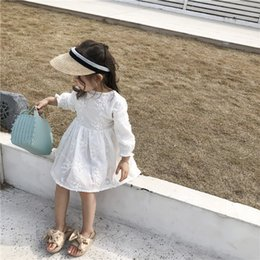 korean baby flowers Australia - 2019 Spring New Arrival Korean Style Cotton Pure Color Flowers All-match Princess Long Sleeve Dress For Cute Sweet Baby Girls Y19061701