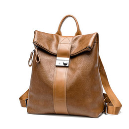 girls leather backpack bags Australia - 2019 Designer Fashion Womens Backpack Purse PU Leather Luxury Waterproof Female Backpack Brand Anti-theft School Bag for Girls (Black Brown)
