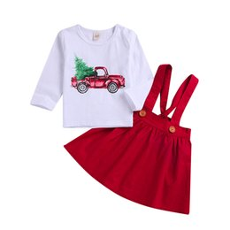 Pink Car Set UK - CHAMSGEND Toddler Baby Girl Christmas XMAS Car Print Cotton Blend Tops Solid Overall Clothing Set JAN9 P30