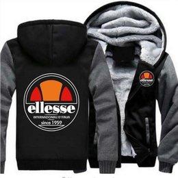 Weißes Herren Designer Hoodie Sweatshirt Ellesse Print Herbst Winter Thick Plus Velvet Thick Zipper Strickjacke mit Kapuze Warm Sweater im Angebot