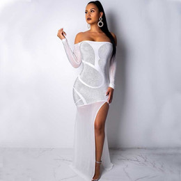 $enCountryForm.capitalKeyWord NZ - MUXU white glitter Hot Drilling Sexy bodycon Vent maxi dress women vestidos robe femme ukraine party long dresses Spring elbise