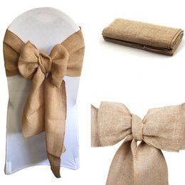 $enCountryForm.capitalKeyWord Australia - Natural Hessian Burlap Chair Sashes Rustic Burlap Chair Bow for Wedding Events Banquet Decoration