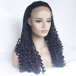 micro braided wigs UK - Wholesale Natrual Black Micro Braiding Hair Wigs with Curly End Synthetic Lace Front Wig Half Braided Wigs For Black Women Wigs