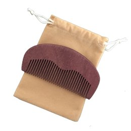 Uses Oil UK - Wooden Beard Comb & Travel Bag Handmade Fine Teeth, Perfect for use with Balms and Oils, Amodong Wood Pocket Comb for Beard and Mustaches