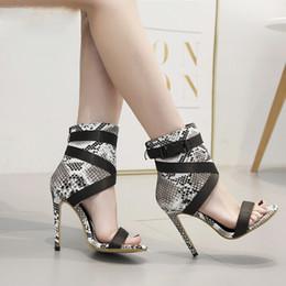 heel shoes zipper back 2019 - Women Sexy Peep Toe Stiletto High Heels Back Zipper Ankle High Sandals Boots Snake Print Buckle Design Fashion Ladies Sh