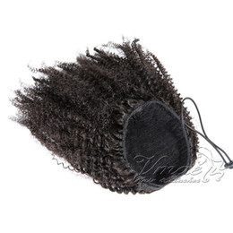 Wholesale Indian Virgin Natural Black 4A 12 to 26 inch 120g Elastic Band Ties Drawstring Afro Kinky Curly Remy Human Hair Ponytail